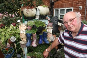 Mr Arthur Kellaway with recycled planters