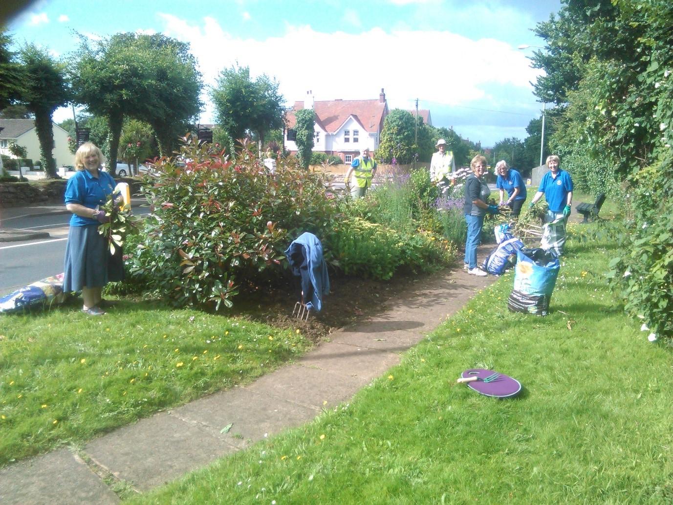 Bloom members weeding at Salterton Road